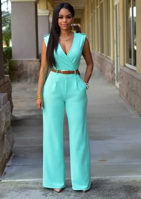 Sleeveless Maxi Overalls Belted Wide Leg Jumpsuit