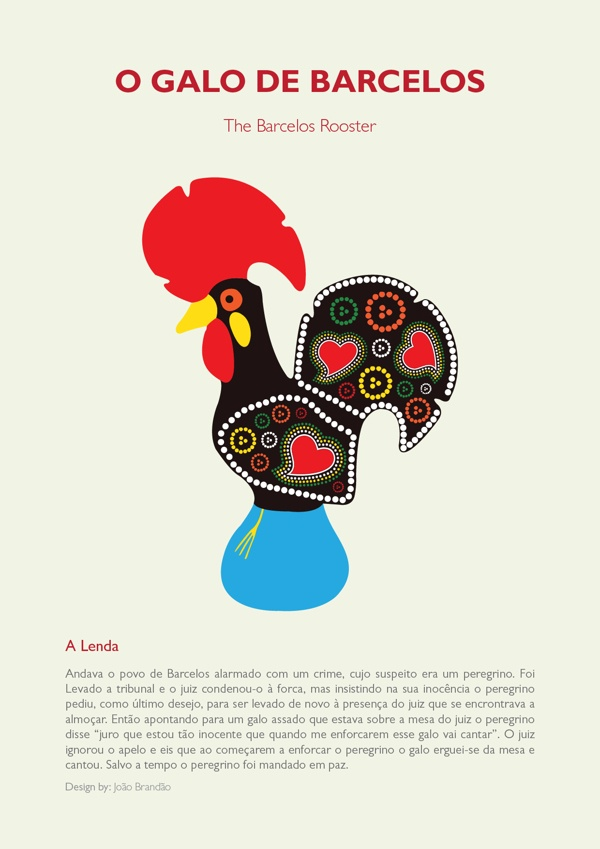 The Barcelos Rooster / O Galo de Barcelos by João Brandão, via Behance