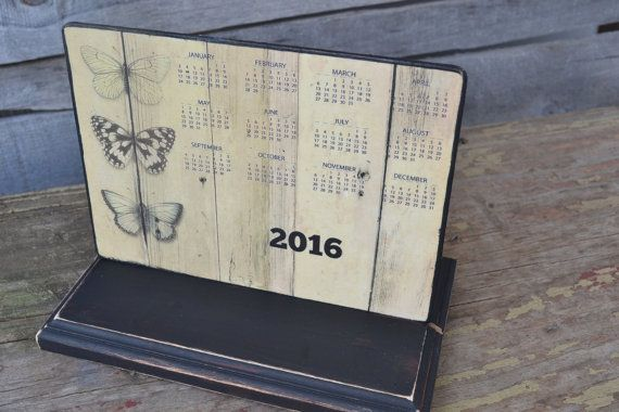Wood Butterfly Yearly Calendar 2016-17 by TheBlueBirdFactory