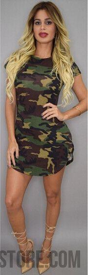 New Fashion Women Summer Dress Short Sleeve Sexy Mini Dresses women Green Camouflage Print Plus Size Woman Vestidos