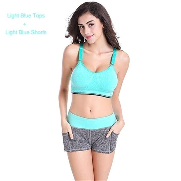 420fbd3645 B.BANG Yoga Sets Running Sports Bra+Shorts Set Fitness Gym Push Up Seamless