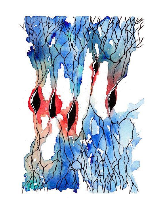 Neuron 7, Neurons, Neurology, Science art, science, biology art, science gift, watercolor, watercolor print, art print, neuron art, painting