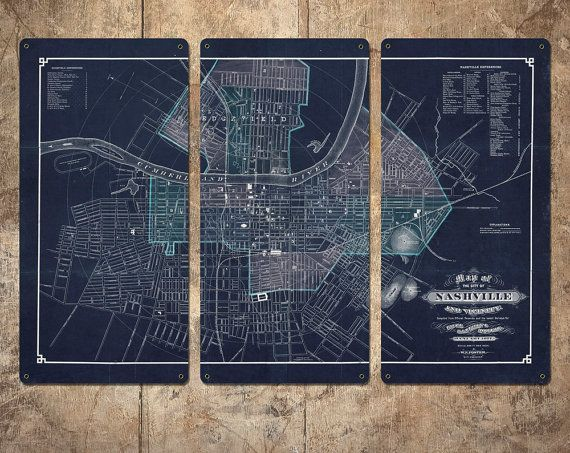 "Vintage Map of Nashville on METAL Triptych 34""x23"" FREE SHIPPING"
