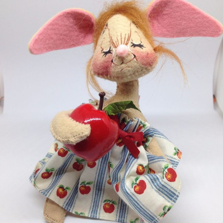 "ANNALEE 1995 TEACHER BUNNY RABBIT with Red Apple Dress Doll Figure 6"" #AnnaleeDolls #Dolls"