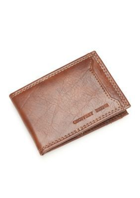Geoffrey Beene Tan Durham Money Clip Front Pocket Wallet