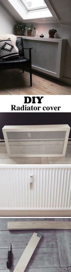 This DIY radiator cover is easy and cheap to make. It's the perfect cover for that ugly radiator in your apartment and a bonus shelf space. #radioador
