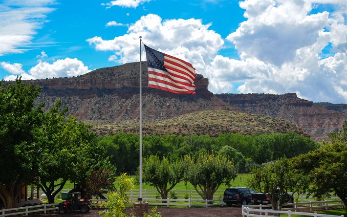 Download wallpapers American flag, US flag, ranch, flagpole, USA, canyon