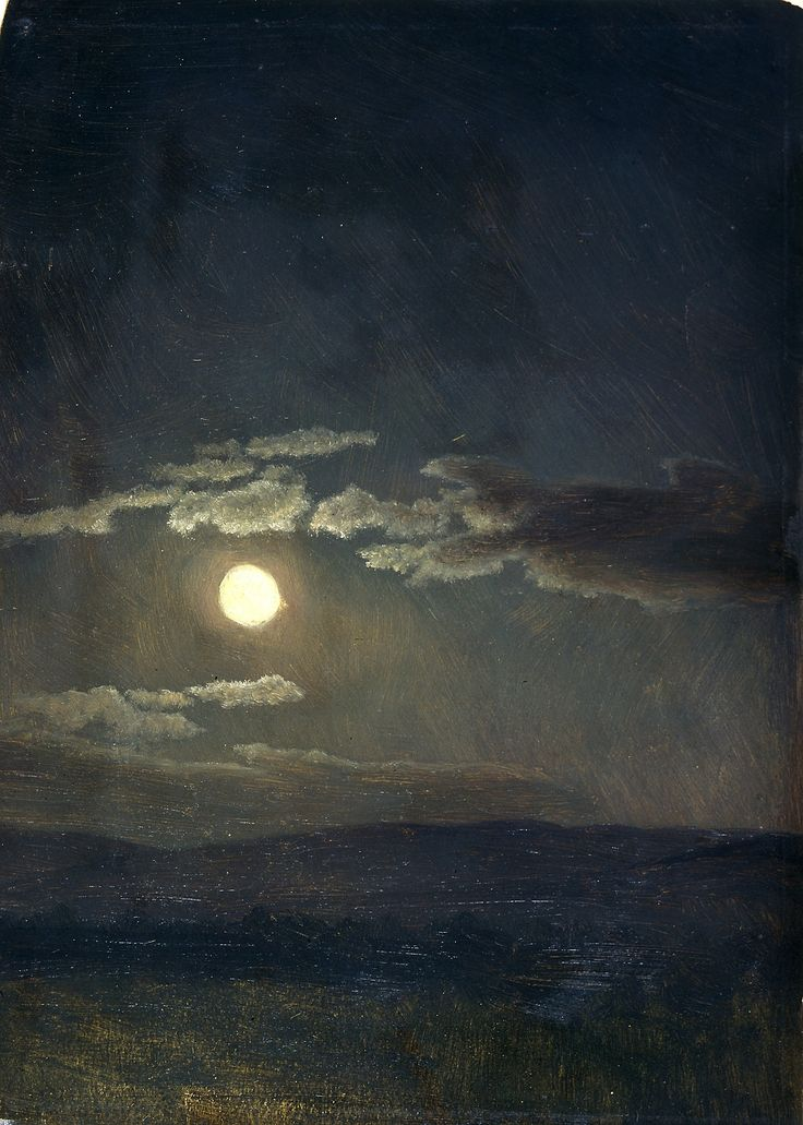 Albert Bierstadt - Cloudy Study, Moonlight