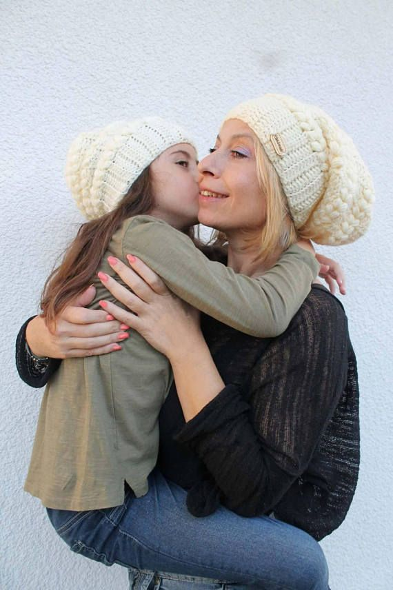 Hand Knit Slouchy Hat Mommy and me Hats Mommy and me