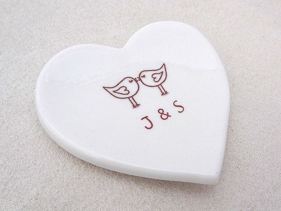 Personalised ring dish. White porcelain by SpringwoodPorcelain