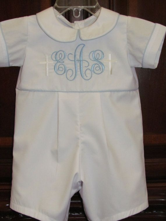 Baby Boy Baptism Romper Christening Romper by KsCreationsChildrens, $65.00