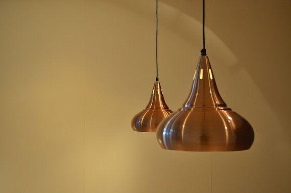 2x Danish Copper Colored Pendant Lamps Mid Modern Design