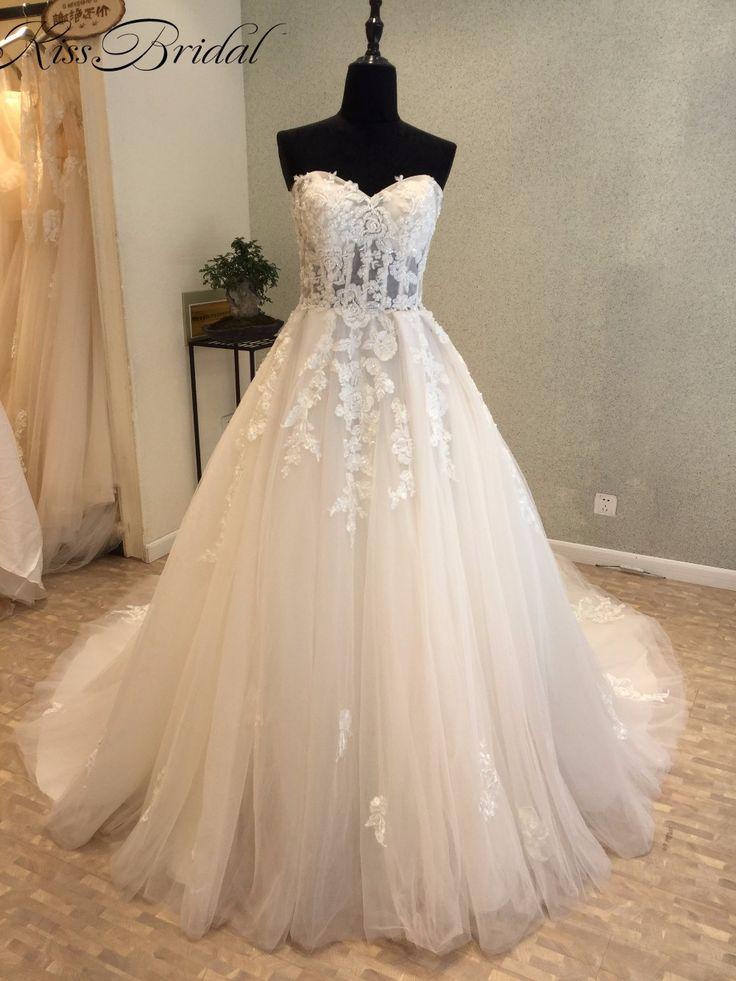 Tendência da moda 2018 A Linha de Vestidos de Casamento Do Querido Do Laço Do Vintage Vestido de Noiva Sem Mangas Com Colete vestido de Noiva