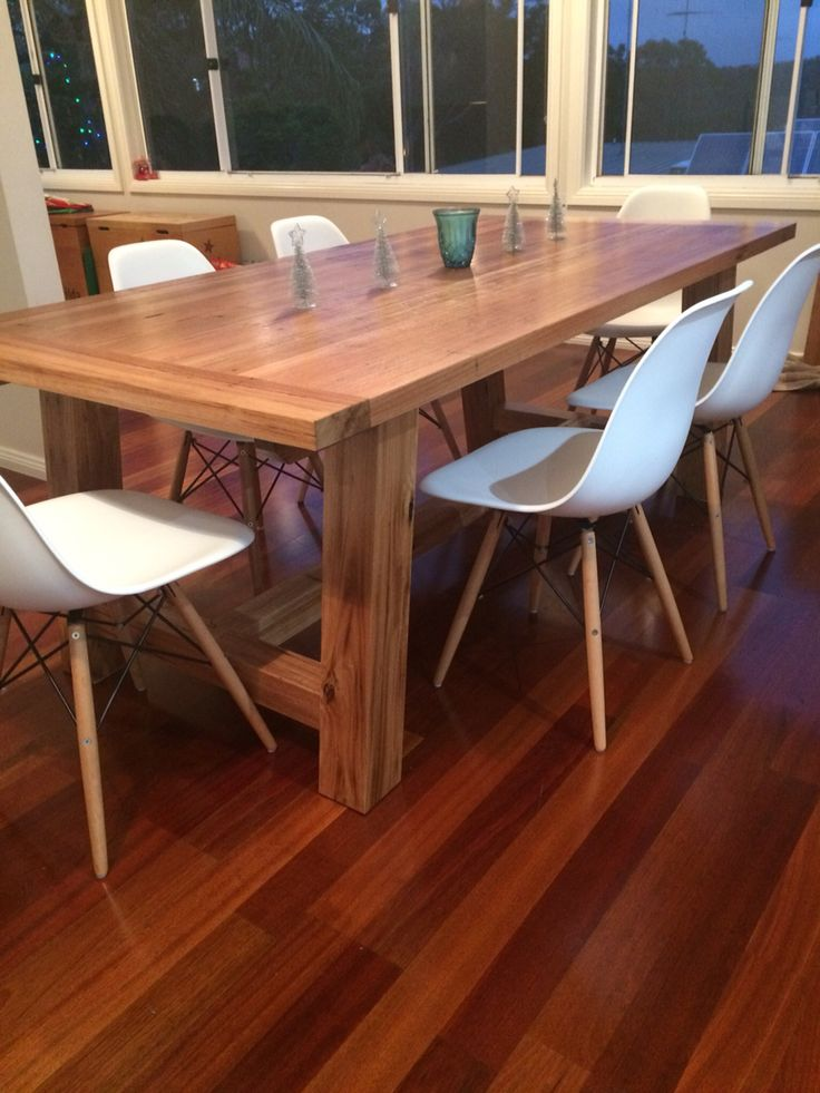 Recycled Blackbutt timber table. Legs where made from old telegraph poles. Made by Concepts Created