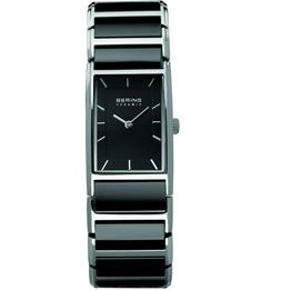 Bering Ladies Rectangle Stainless Steel & Black Ceramic Black Dial With Silver Batons/ Sapphire Crystal Glass 30M