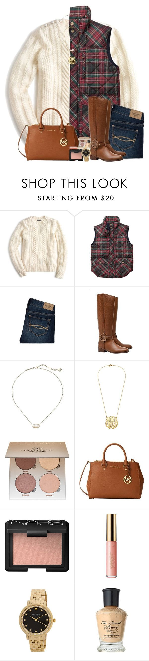 """FALLing in love ❤"" by pineappleprincess1012 ❤ liked on Polyvore featuring J.Crew, Southern Proper, Abercrombie & Fitch, Tory Burch, Kendra Scott, Anastasia Beverly Hills, Michael Kors, NARS Cosmetics, tarte and Kate Spade"
