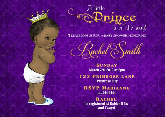 vintage purple damask and gold african american prince baby shower invitation by