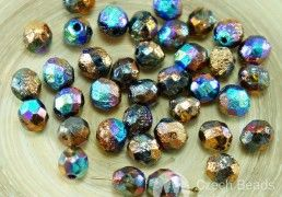 20pcs NEW FINISH Glittery Rainbow Bronze Half Rustic Etched Czech Glass Round Faceted Fire Polished Beads 8mm