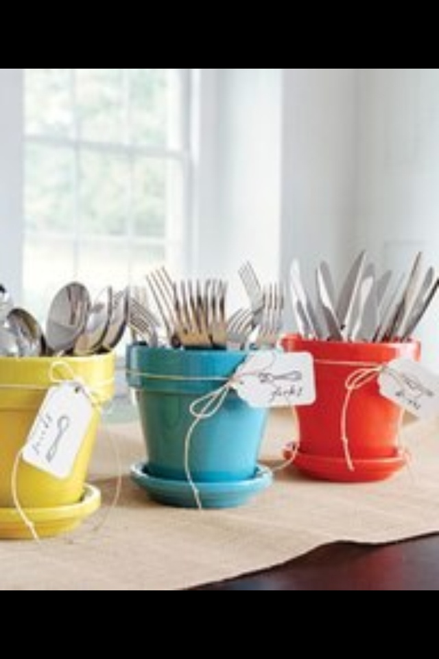BBQ idea, easy silverware access for a big summer event!