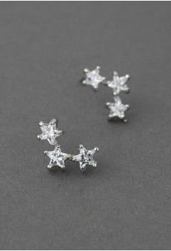 Triplet Crystal Star Earrings