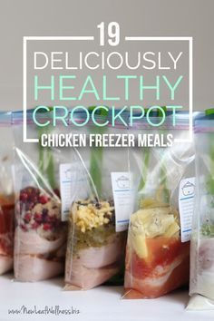 19 deliciously healthy chicken crockpot freezer meals - get on top of your meal planning! Free printable recipes and grocery list included.