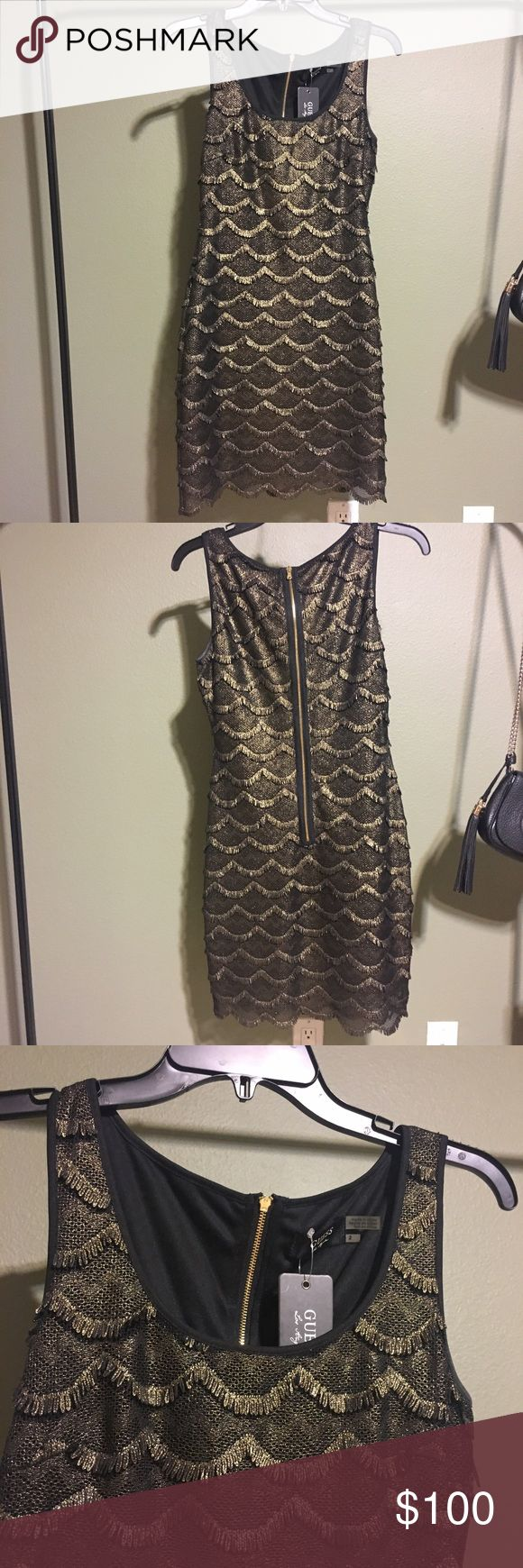 GUESS Dress NWT Guess 'Maria' black and gold dress. Brand new with tags. Guess Dresses