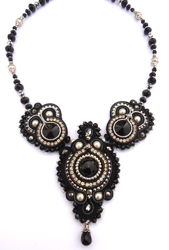 Black Gray and Silver Soutache beaded necklace by CieloDesign, $185.00