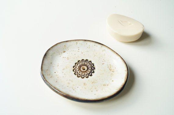 Soap Dish Oval Ceramic Soap Dish Soap Holder Beige Soap by bemika