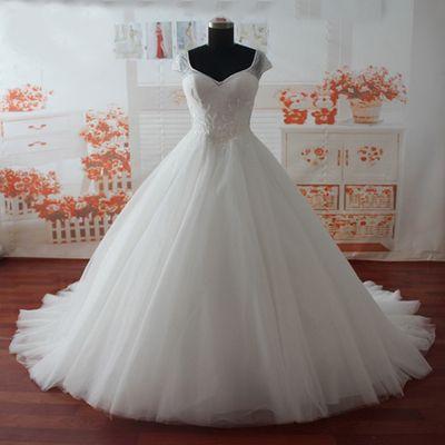 cap sleeves wedding dress,A-line wedding dress,long Puffy wedding dress,Tulle…