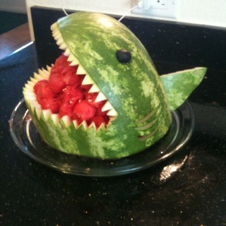 Shark watermelon!! :)) party favors for the hawaiian themed party!! :)