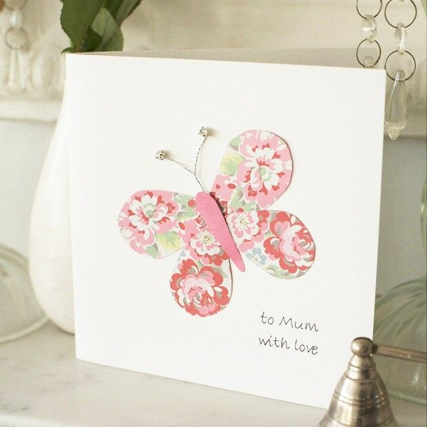 A handmade card, like this butterfly Mother's Day card, is one of the easiest ways to show someone you're thinking of them; it really is the thought that counts! Find more card making ideas here! http://www.prima.co.uk/tag/card-making/page/2