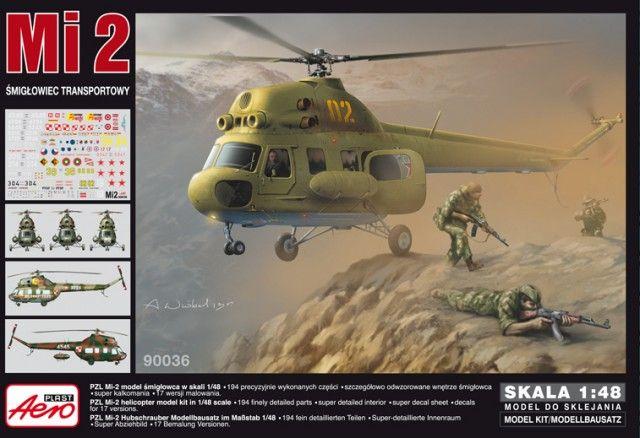 PZL Mi-2 Transport Helicopter. Aeroplast, 1/48, rebox 2013 (ex Aeroplast 2013 No.90035, changed decals only), No.90036. Price: 26,99 GBP (marketplace).