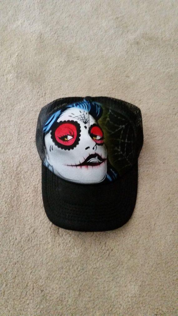 Day of Dead Girl Trucker Hat by StevenLaneDesign on Etsy