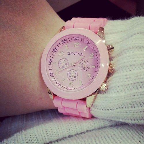 Pink Geneva Watch | tumblr
