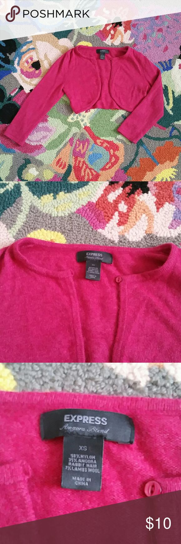 Express Cropped Angora Blend Cardigan Sweater Soft, hot pink cardigan sweater for layering! Would look super cute as a shrug to keep warm over dresses. In great, used condition with no visible defects. Please feel free to ask any questions! Express Sweaters Cardigans