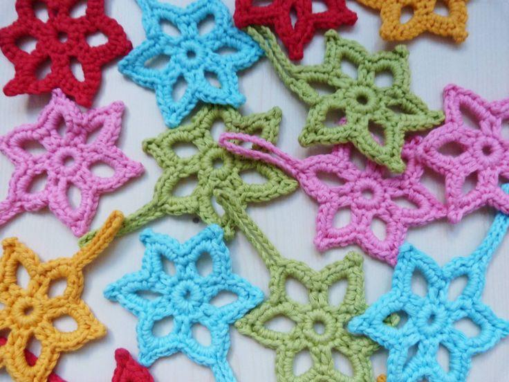 Ilona's blog: Ster haken patroon. Bouncing bunny: gele ster gehaakt voor in de kerstboom