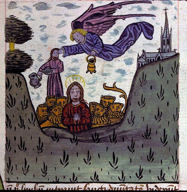 Daniel--lions den. Belgium c.1461. Lyon BM ms 0245.