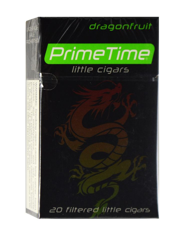 Prime Time Little Cigars Dragon Fruit  Prime Time Little Cigars Dragon Fruit are enjoyed by both regular and occasional smoker alike because if its well-defined taste, luxurious aroma and long burn.