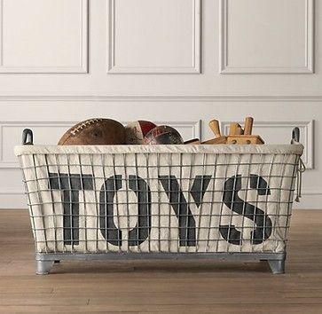 Industrial Basket & Toys Liner - modern - toy storage - Restoration Hardware Baby & Child $299