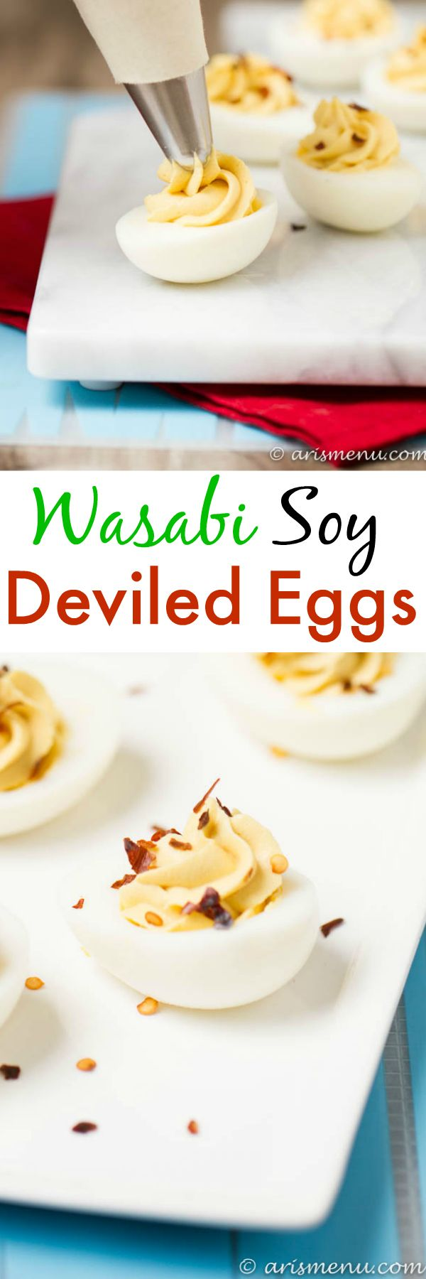 Wasabi Soy Deviled Eggs: Spicy and bold, like a california roll meets ...