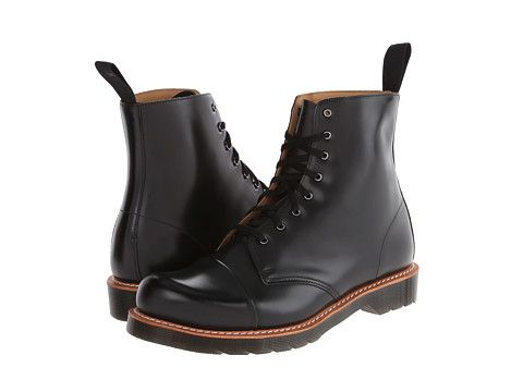 Dr. Martens Charlton 8-Eye Toe Cap Boot Black Polished Smooth - Zappos.com Free Shipping BOTH Ways