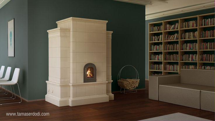 Szentesi Tile Stove http://tamaserdodi.com  #3D #visual #viz #furniture #tile #stove #design #books #book #modern #flat
