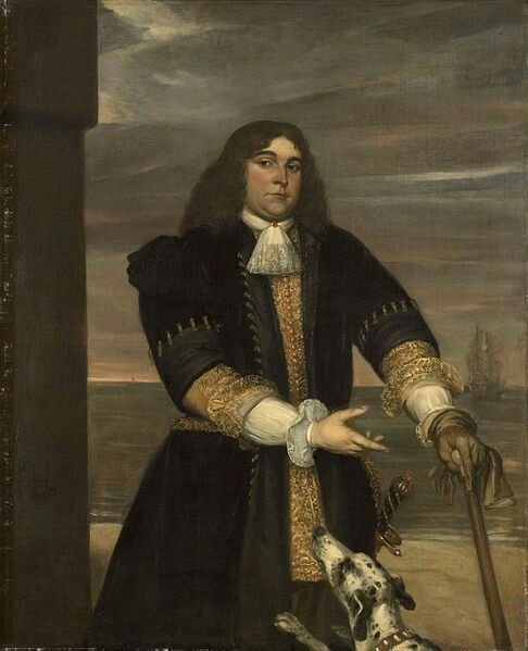 Jan Andrea LievensTitleJan van Gelder (1647-73). Kapitein ter zee, stiefzoon van Michiel Adriaensz de RuyterDescription  Nederlands:Portret van Jan van Gelder, kapitein ter zee, stiefzoon van Michiel Adriaensz de Ruyter. Kniestuk, staand voor een kust met in de verte een schip op zee. Wandelstok en handschoen in de linkerhand, gebarend met de rechterhand. Een hond springt tegen hem op.  Date1668Mediumoil on canvasDimensionsdragerHeight:149.5 cm (58.9 in) dragerWidth:124 cm (48.8 in)
