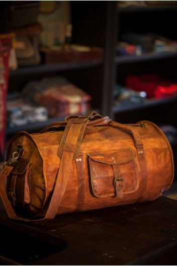 Men's Rugged Vintage Camel Leather Duffle Gym Bag by Buffalo Jackson Trading Co - Duffle