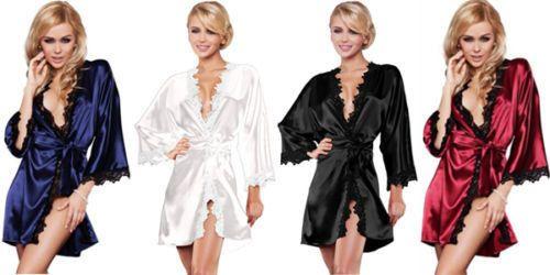 Luxury Nightwear Satin Gown Robe Kimono Sleepwear Lingerie