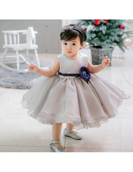 df94ac9704b Grey Puffy Organza Flower Girl Dress For Toddler Girls High Quality  TG7113  - GemGrace.com