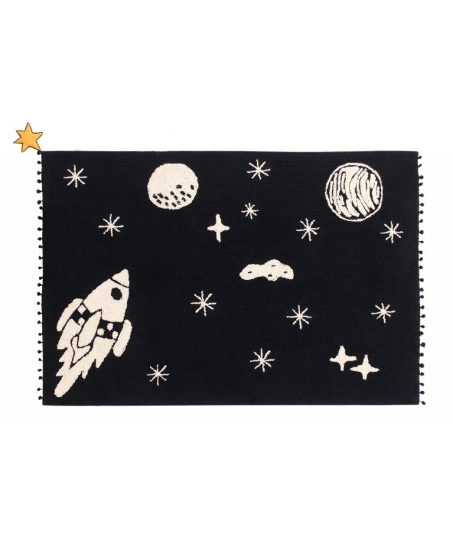 For space explorers Carpet for children's rooms: delicate and soft touch texture May be cleaned in a washing machine! 100% natural cotton, handmade