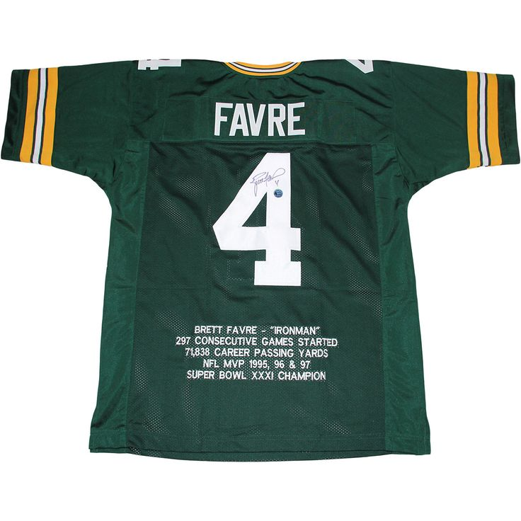 Brett Favre Green Packers Jersey With Embroidered Stats (BF Auth) - This Packers jersey has been personally hand-signed by Football great Brett Favre.100% Guaranteed AuthenticBrett Favre Authenticated. Gifts > Licensed Gifts > Nfl > Green Bay Packers. Weight: 1.00