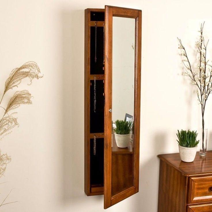Harper Blvd Carson Oak Jewelry Armoire Decorative Full Length Mirror New #HarperBlvd