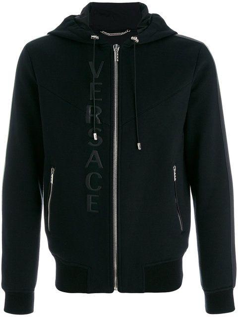 Shop Versace leather logo hooded sweatshirt.